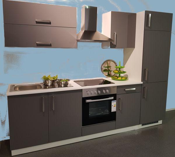 Einbauküche MANKAPURA Anthrazit Dekor/Magnolie Dekor Küchenzeile 270 cm mit E-Geräte