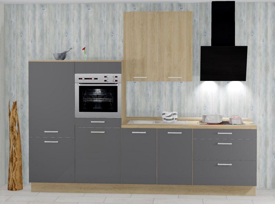 Einbauküchen - Einbauküche MANKATREND 29 in Grau Eiche Küchenzeile 310 cm mit E Geräte  - Onlineshop Manka Möbel