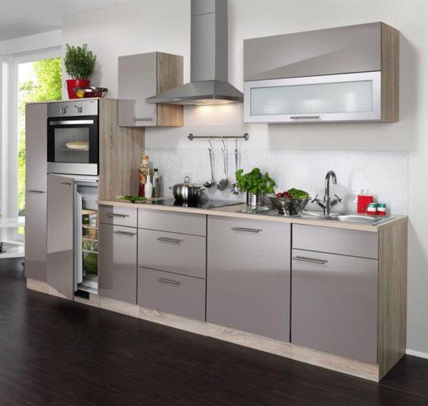 Einbauküche MANKANANO 4 Trüffel Glanz/Sonomaeiche Küchenzeile 310 cm ohne E-Geräte