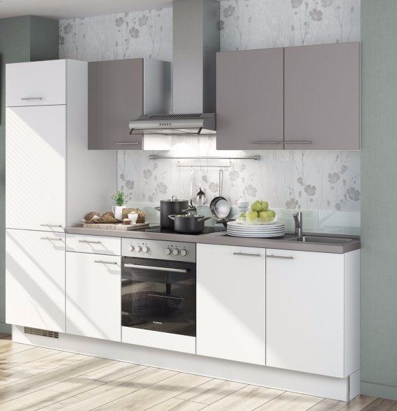 Einbauküche MANKAKIRA 1 Alpinweiß/Aktisgrau Küchenzeile 270 cm mit E-Geräte