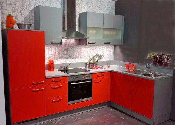 Einbauküche MANKAWIN 1 Rot/Arktisgrau Küchenzeile L-Form 285x175 cm mit E-Geräte
