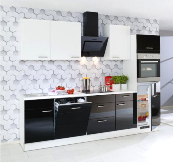 Einbauküche MANKASONO 20 in Schwarz Glanz / Weiß Glanz Küchenzeile 280 cm mit E-Geräte