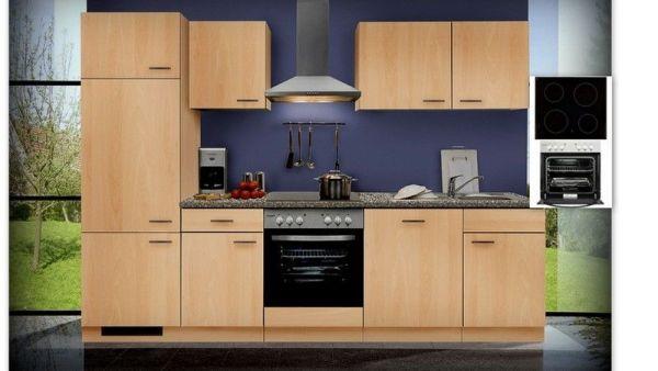Einbauküche MANKAGAMMA 2 Buche Küche Küchenzeile 280 cm mit E-Geräte