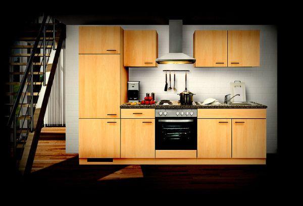 Einbauküche MANKAALPHA 1 Buche Küche Küchenzeile 270cm Küchenblock mit E-Geräte