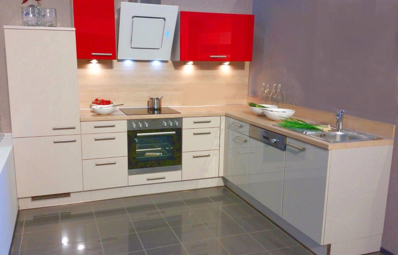 Einbauküchen - Einbauküche MANKAMAGRO 1 Magnolie Rot Hochglanz Küchenzeile L Form 285 x 225 ...  - Onlineshop Manka Möbel