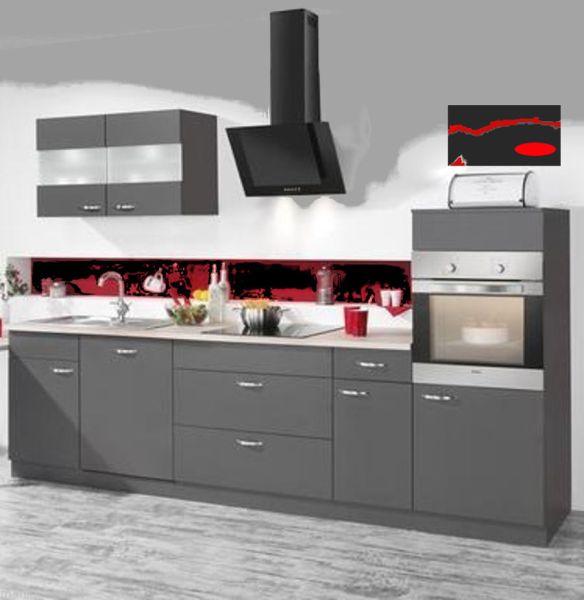 Einbauküche MANKAFIT 1 Anthrazit Küchenzeile 330 cm mit allen E-Geräte