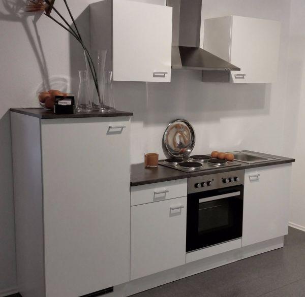Einbauküche MANKAWHITE 9 Küchenzeile in weiß 200 cm mit E-Geräte