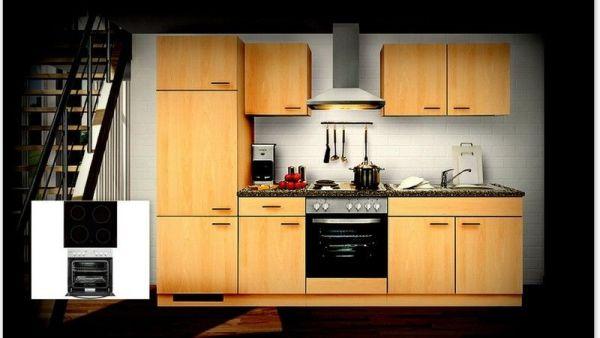 Einbauküche MANKAALPHA 2 Buche Küche Küchenzeile 270 cm Küchenblock mit E-Geräte