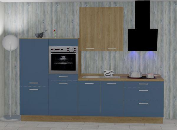 Einbauküche MANKATREND 61 in Blau / Eiche Küchenzeile 290 cm mit E-Geräte