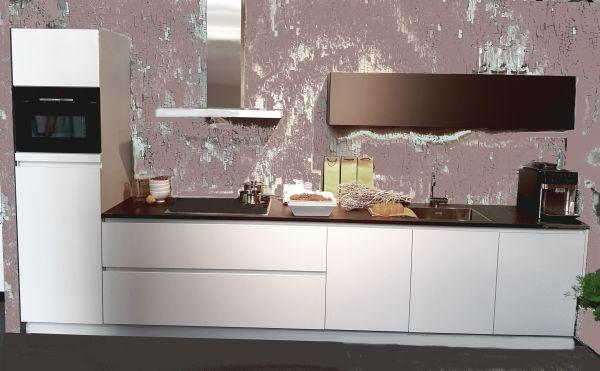 Einbauküche MANKALUX 1 Weiß / Onygrau Mattlack Küchenzeile 360 cm mit E-Geräte