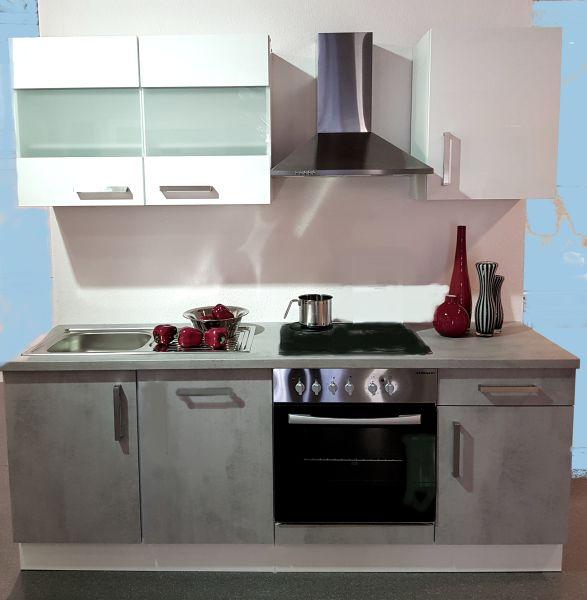 Einbauküche MANKAFLEX 13 Schiefergrau / Weiß Hochglanz Küchenzeile 195 cm mit E-Geräte