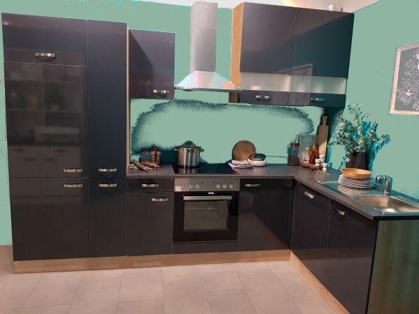 Einbauküche MANKALINUS 1 Glanz Anthrazit/Kastelleiche Küchen-Eckzeile 300x185cm mit E-Geräte