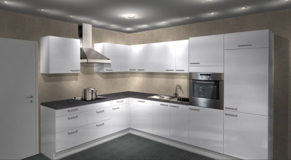 Einbauküche MANKAECO 50 Weiß Hochglanz Eck-Küchenzeile 235 x 325 cm mit E-Geräte