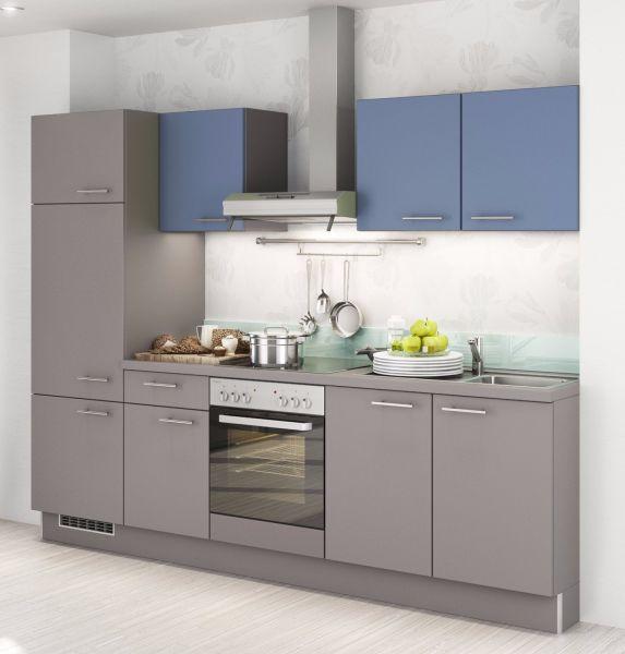 Einbauküche mankakira 2 onyxgrau rauchblau küchenzeile 270 cm mit e geräte