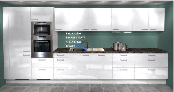 Einbauküche MANKAECO 70Bu3 445 cm Weiß Hochglanz mit Siemens E-Geräte