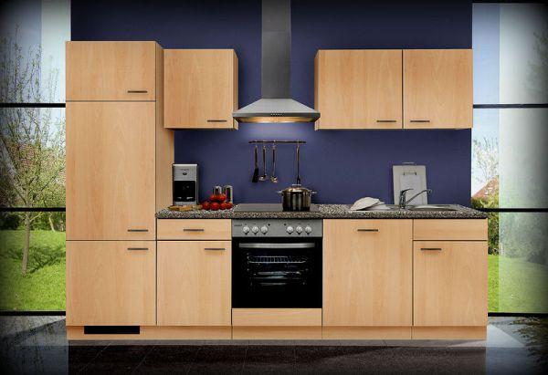 Einbauküche MANKAGAMMA 3 Buche Küche Küchenzeile 280cm ohne E-Geräte