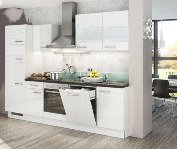 Einbauküche MANKAECO 2 Weiß Hochglanz Küchenzeile 300 cm mit E-Geräte