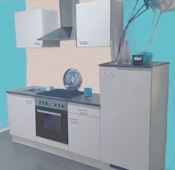 Einbauküche MANKAWHITE 27 Küche Küchenzeile 195 cm mit E-Geräte