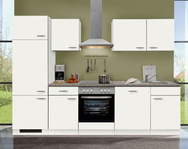 Einbauküche MANKAWHITE 5 in Weiß Küchenzeile 280 cm mit E-Geräte