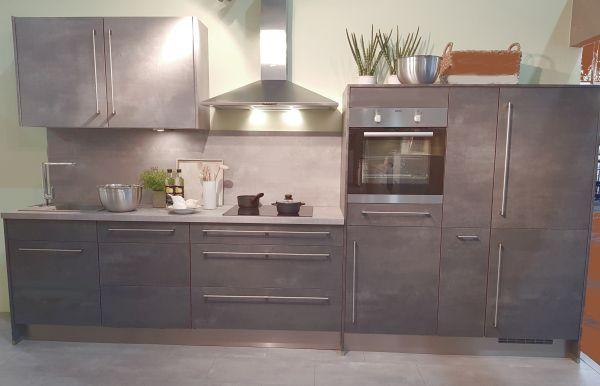 Einbauküche MANKAGREY 4 in Betongrau Schiefer/Betongrau hell Küchenzeile 345 cm mit E-Geräte