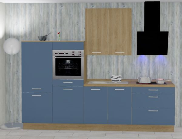 Einbauküche MANKATREND 62 in Blau / Eiche Küchenzeile 300 cm mit E-Geräte