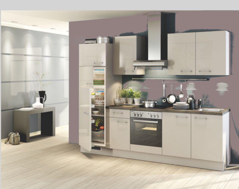 Einbauküche MANKASCALA 6 Kaschmir Glanz Küchenzeile 260 cm mit E-Geräte
