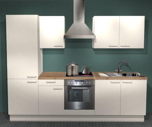 Einbauküche MANKABETA 1 Magnolie Küche Küchenzeile 270cm Küchenblock mit E-Geräte