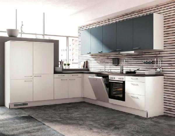 Einbauküche MANKASOLIS 1 Weiß matt/Ocean matt Dekor Küchen-Eckzeile L-Form 285x305cm mit E-Geräte