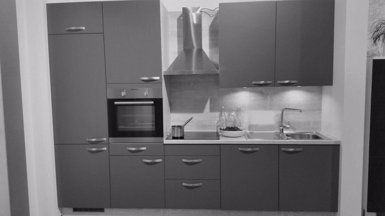 Einbauküche MANKASCURO 1 Anthrazit/Akazie Küchenzeile 300 cm mit E-Geräte