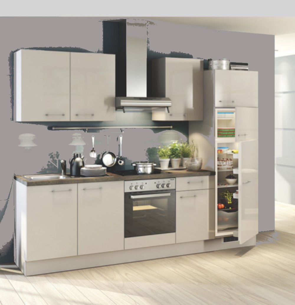 Einbauküchen - Einbauküche MANKASCALA 1 Angoragrau Hochglanz Lack Küchenzeile 280 cm  - Onlineshop Manka Möbel