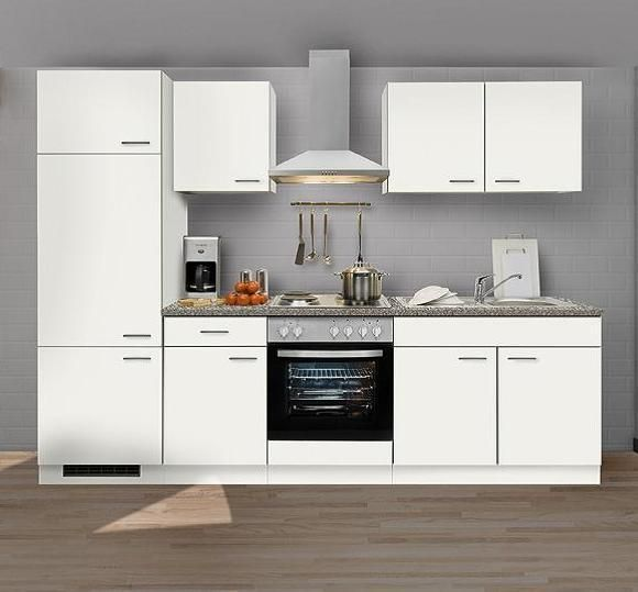Einbauküche MANKAWHITE 3 Küchenzeile 270 cm ohne E-Geräte