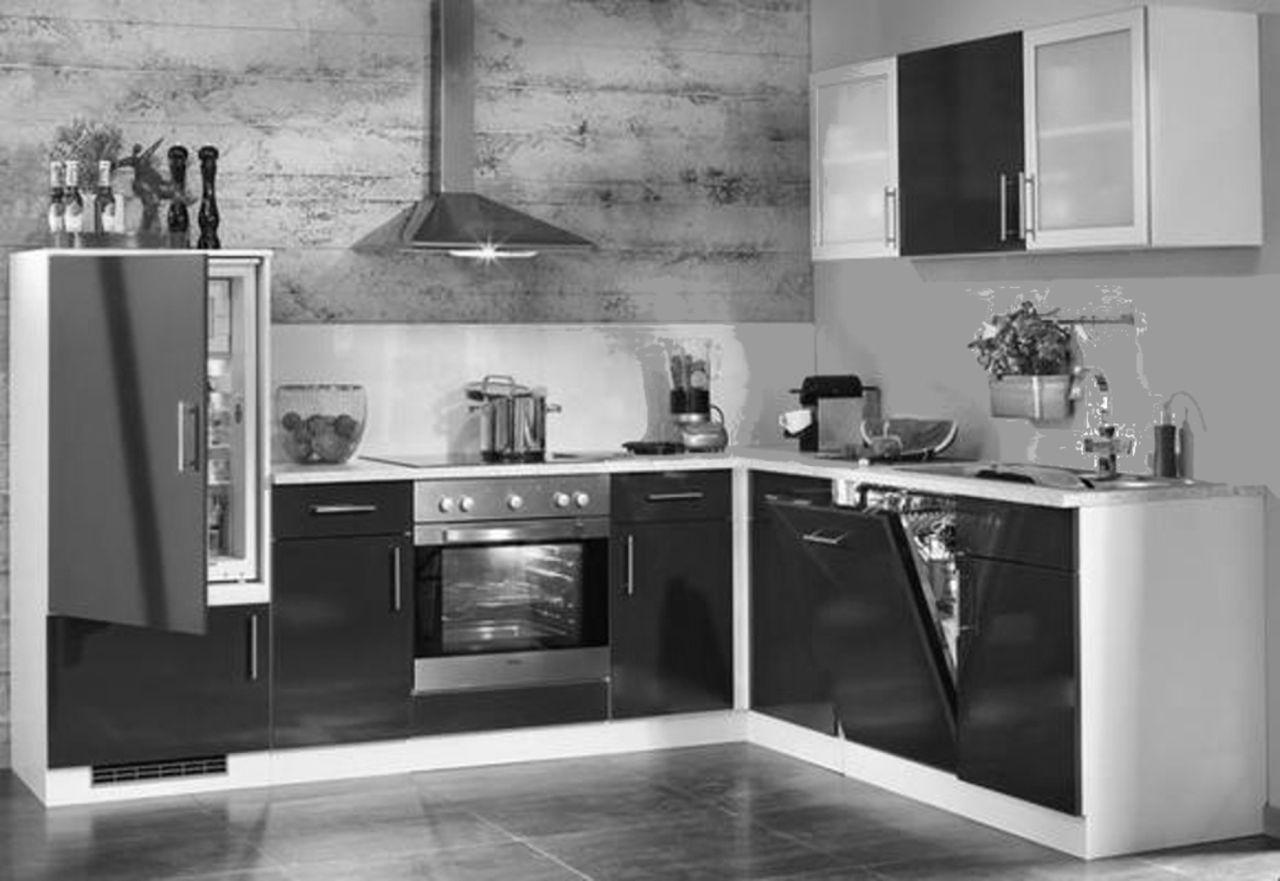 Einbauküchen - Einbauküche MANKASONO 1 Schwarz Glanz Küchenzeile L Form 265x215 cm mit E Geräte  - Onlineshop Manka Möbel