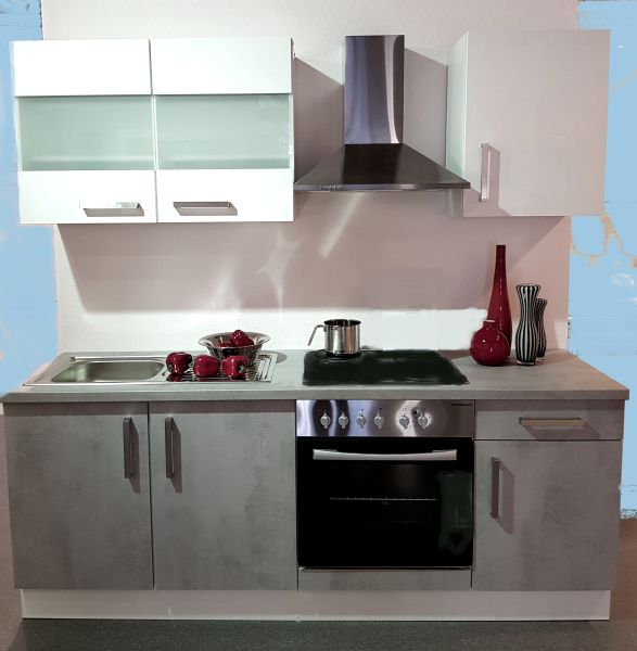 Einbauküche MANKAFLEX 4 Schiefergrau / Weiß Hochglanz Küchenzeile 210 cm ohne E-Geräte