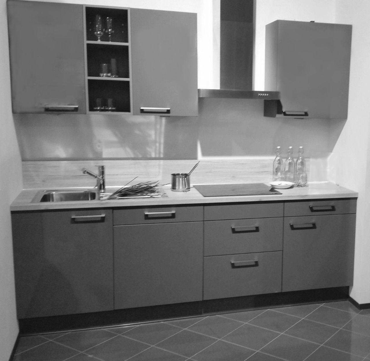 Einbauküche MANKAFLASH 20 in Anthrazit Küchenzeile Küche 240 cm mit E-Geräte