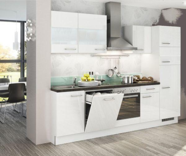 Einbauküche MANKAECO 3 Weiß Hochglanz Küchenzeile 290 cm mit E-Geräte