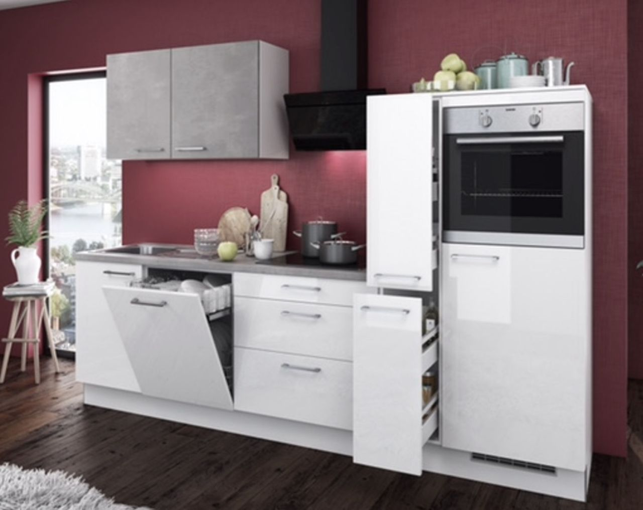 Einbauküchen - Einbauküche MANKAGLOSS 7 in Weiß Hochglanz Beton Küchenzeile 310 cm  - Onlineshop Manka Möbel