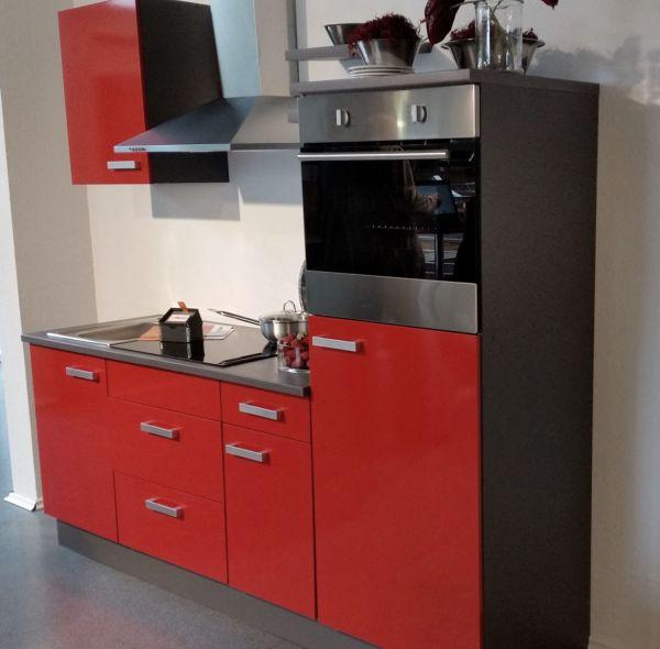 Einbauküche MANKATOP 7 Signalrot / Onyxgrau Küchenzeile 200 cm / mit E-Geräte