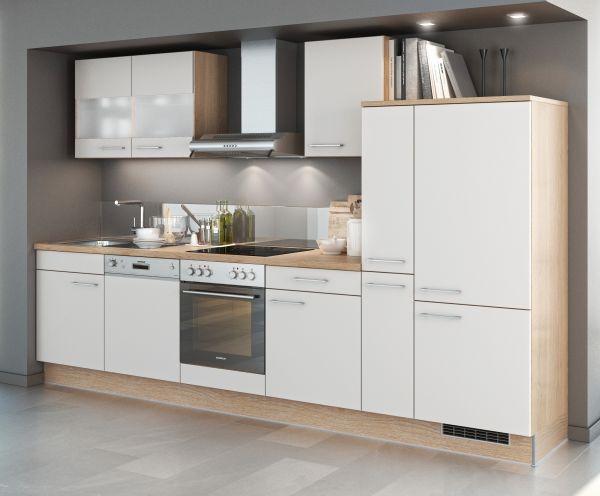Einbauküche MANKASOLAR 3 Weiß matt/Sonomaeiche Küchenzeile 310 cm mit E-Geräte
