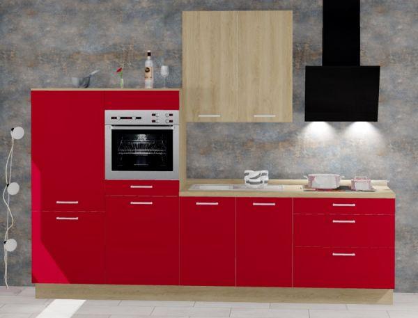 Einbauküche MANKATREND 1 in Rot / Eiche Küchenzeile 290 cm mit E-Geräte