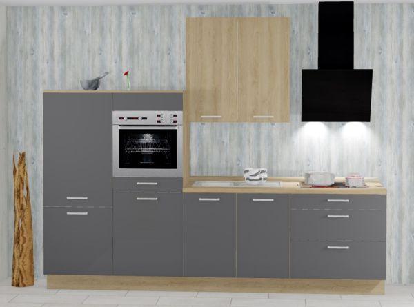 Einbauküche MANKATREND 26 in Grau / Eiche Küchenzeile 340 cm mit E-Geräte