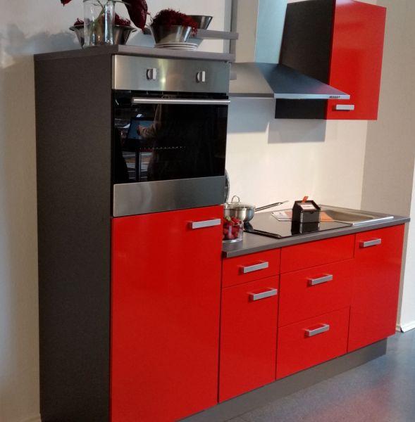 Einbauküche MANKACERISE 12 Kirsche Hochglanz/Onyxgrau Küchenzeile 215 cm / ohne E-Geräte